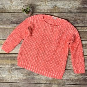 Crewcuts Neon Pink & White Ribbed Chunky Sweater
